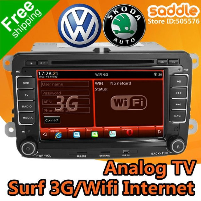 VW Car DVD Player with GPS Can-Bus Analog TV RDS WinCE For VW Skoda Golf Passat Jetta Tiguan Touran EOS Sharan Caddy Seat ...