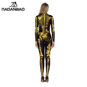 Image 2 - NADANBAO Scary Purim Karneval Cosplay Kostüm Gold Skeleton Body Frauen Halloween Kristall Skeleton Elastische Catsuits