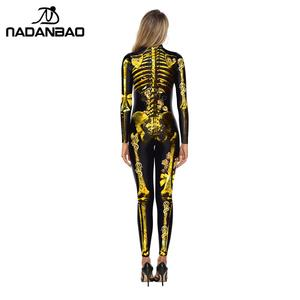 Image 2 - Женский карнавальный костюм NADANBAO, эластичный костюм скелета на Хэллоуин с кристаллами