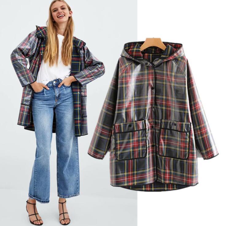 2018 Winter New Women's Jacket Coat Windproof Long Section Women's Hooded Rainproof Lattice Rubber Windbreaker Jacket Coat Low Price