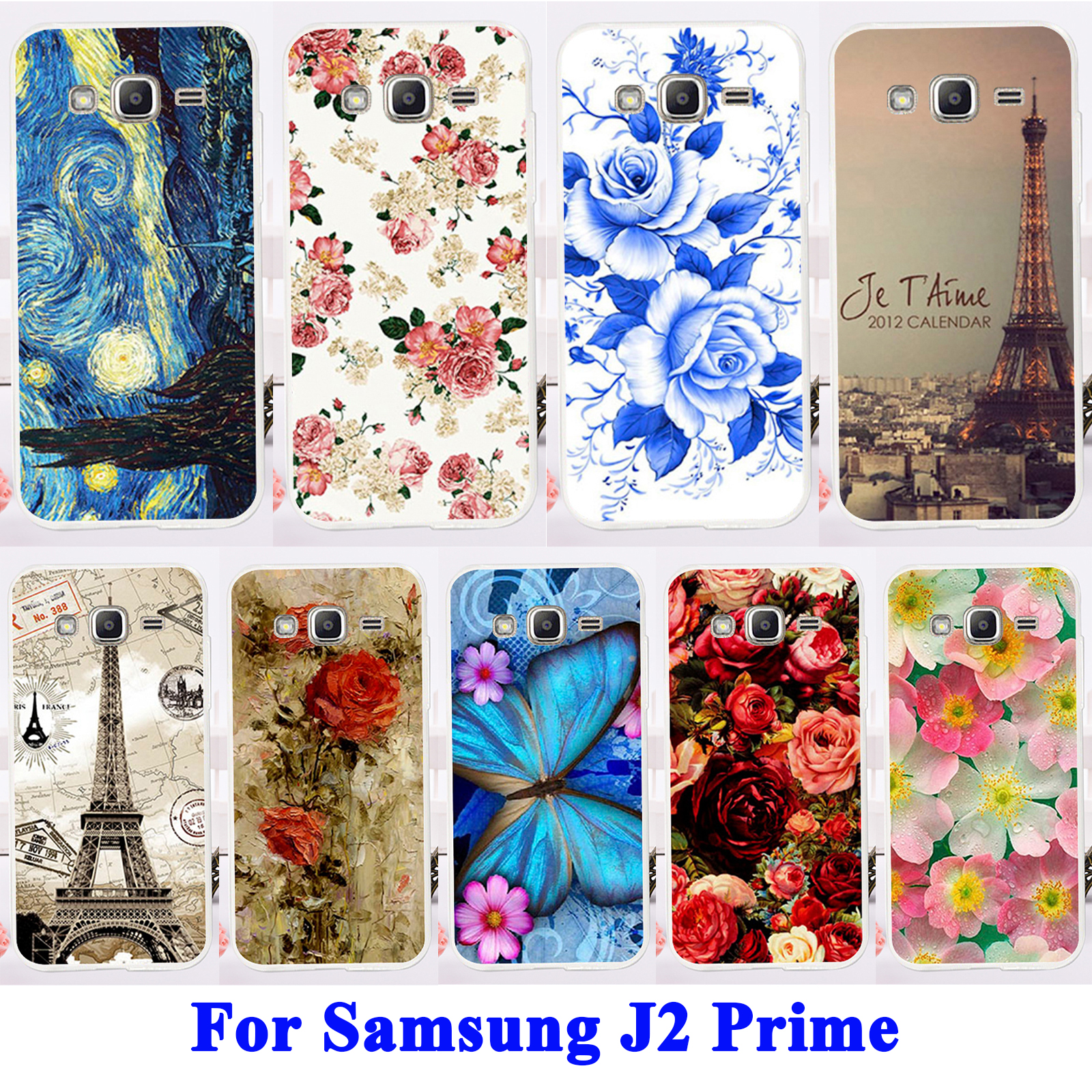 Flexible Silicon Cell Phone Shell Hood For Samsung Galaxy J2 Prime Housing Bags Rose Peony Flower Grand Prime 2016 SM G532F