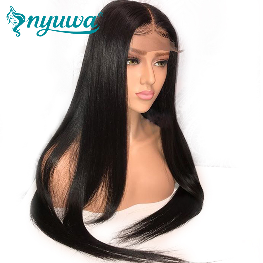 NYUWA Straight Lace front Human Hair Wigs 13x6 Pre Plucked Brazilian Lace Front Wigs For ...