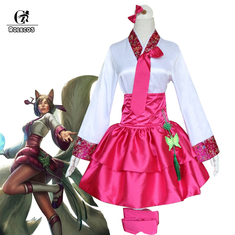 ROLECOS Dynasty Ahri Cosplay Costume LOL Game Cosplay Korean Costume the Nine-Tailed Fox Cos