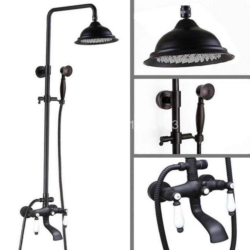 Black Oil Rubbed Brass wall Mount Bathroom 8Round Rain Shower Head Faucet Tub Mixer Tap Set ahg143