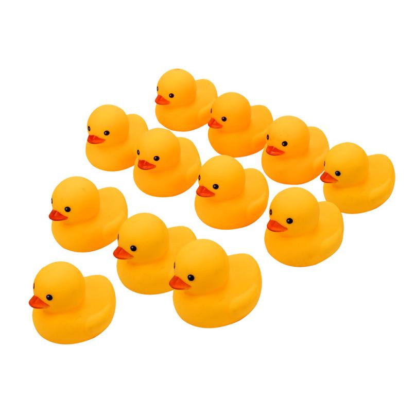 100pcs Mini Cute Rubber Duck Baby Bath Toys For Children Squeaky Ducky Duckling Animal Swimming Pool Water Toys For Kids