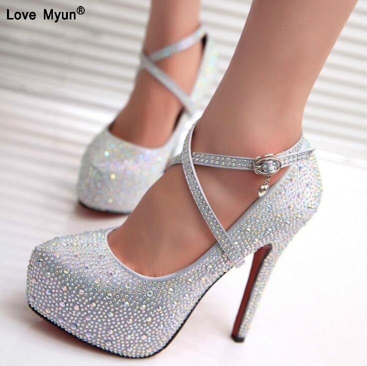 Wedding-Shoes Platforms Crystal Rhinestone Diamond Party High-Heels Women Lady 856