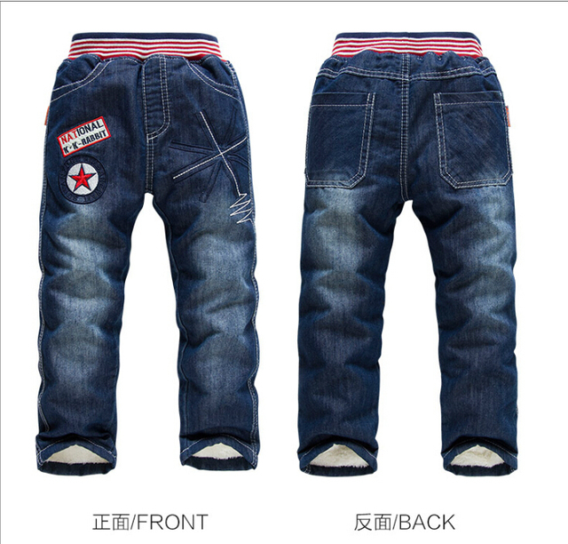3-7Years Boys Jeans Warm Cashmere Winter Boys Pants Casual Kids Denim Pants England Style Children's Jean Trousers For Boys