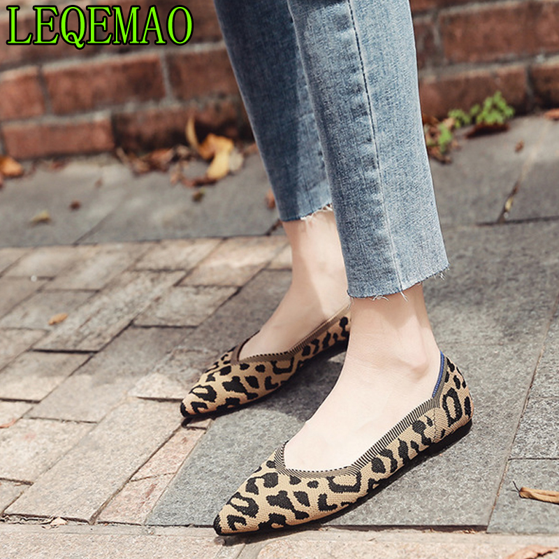 summer new women's shoes breathable soft bottom Leopard print camouflage knit flat shoes pointed shallow mouth flat single shoes(China)