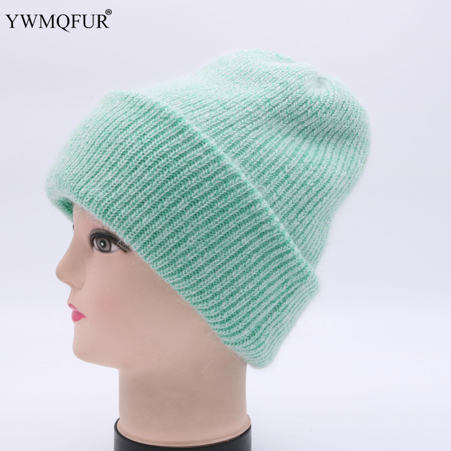 YWMQFUR Hot 2018 Winter Skullies Wool Knitted Hat Beanies Cap Casual Solid Color Sets Headgear Thicker Warm Hats For Women H95