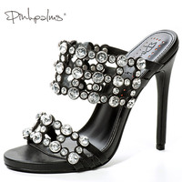 Pink Palms Mules Shoes Women Slippers High Heels With Crystals Outside And Indoor Slides Cut Out
