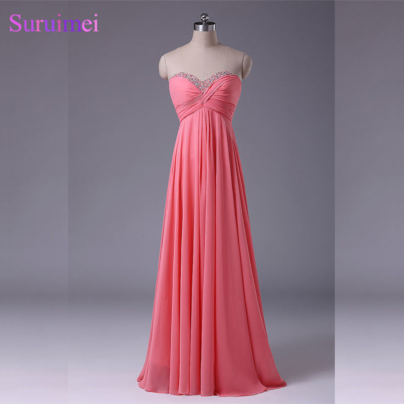 Watermelon Bridesmaid <font><b>Dress</b></font> Chiffon Floor Length Beaded Long Bride Maid <font><b>Dress</b></font> <font><b>Coral</b></font> Color Free Shipping V29