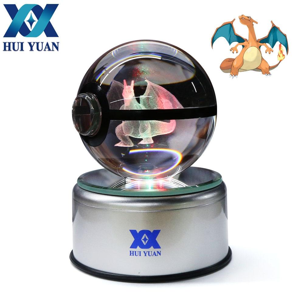 HUI YUAN Charizard Crystal Ball 8CM Rotary Base USB & Battery Powered 3D LED Night Light Desk Table Lamp Decorations