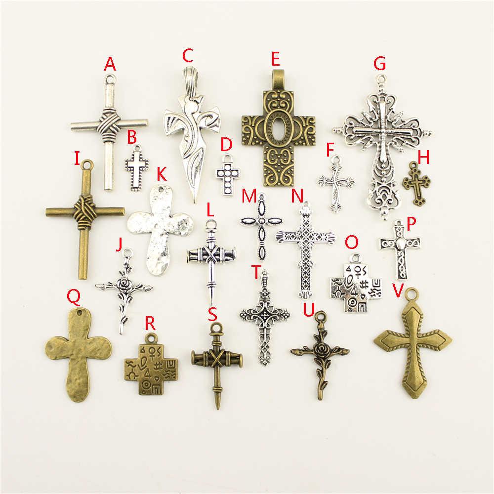 1 قطعة بالجملة السائبة الاكسسوارات أجزاء حلية مسمار الصليب مزيج قلادة موضة صنع المجوهرات HK169