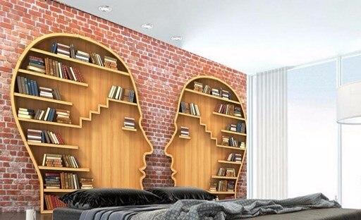 Boekenkast Behang Woonkamer : D foto muurschilderingen aangepaste d behang boekenkast boeken