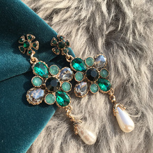 MENGJIQIAO Vintage Green Crystal Flower Long Earrings For Women Fashion Simulated Pearl Drop Dangle Brincos Party Accessories