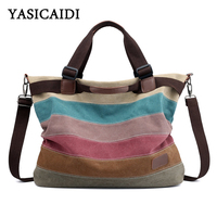 YASICAIDI 2019 Casual Striped Canvas Tote Bag Fashion School Shopping Crossbody Shoulder Bag Luxury Handbags Women Bags Designer