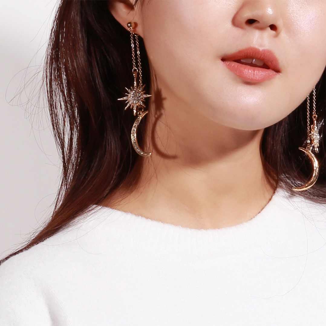 Women Star Rhinestone Long Tassel Earrings Chain Dangle Ear Stud Jewelry 8C