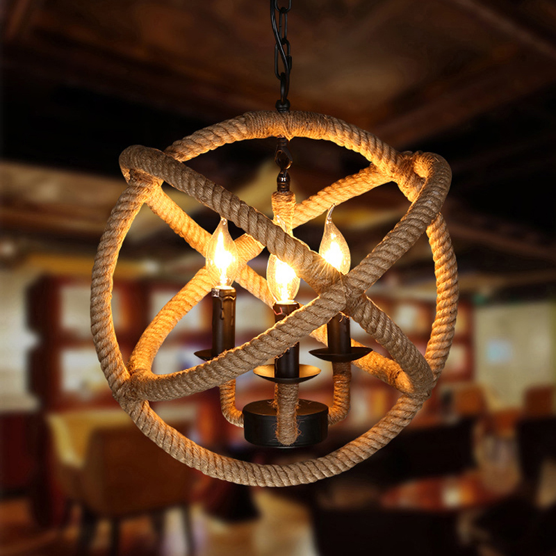 Vintage Chandelier for Home and Cafe Industrial Rope Chandelier Light Retro Bird Cage Lighting Fixture with LED GLT6556