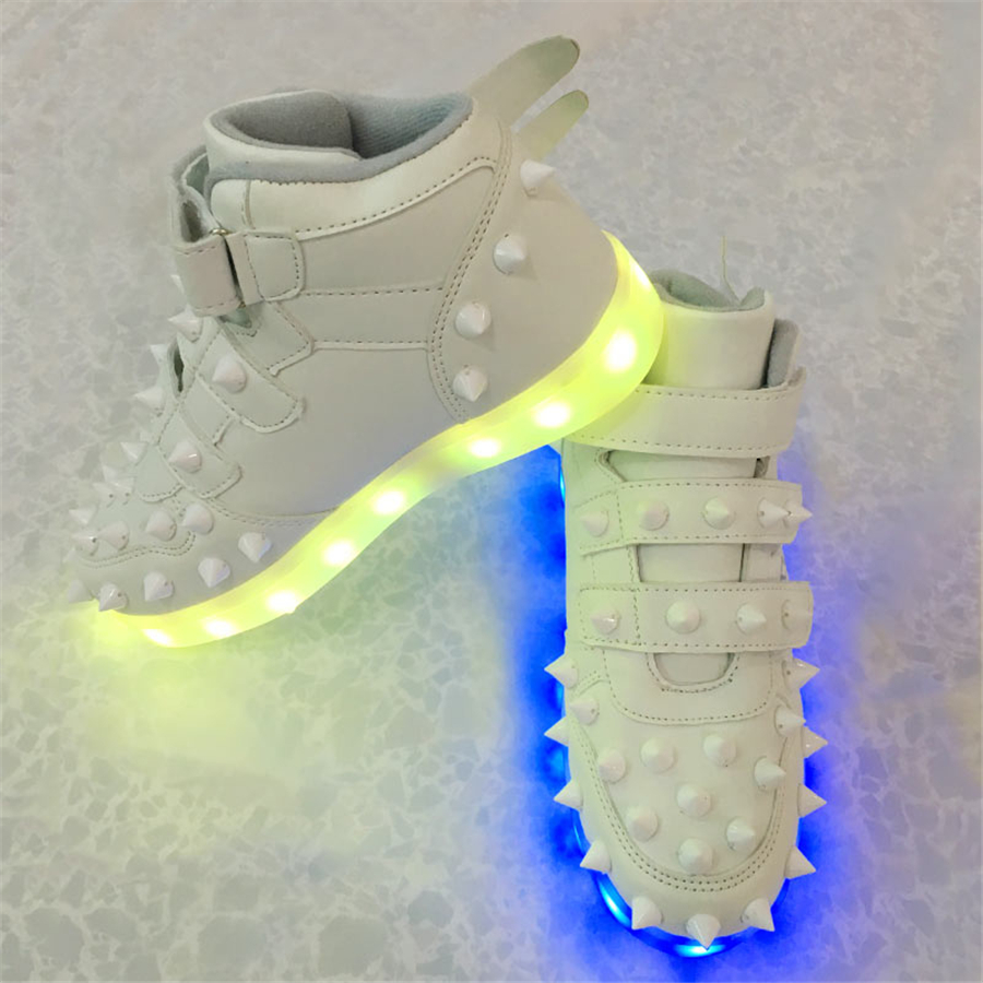 Boys Shoes With Led Light Up Sneakers Illuminated Fashion Kids Shoes Tenis Led Infantil Led Light Sneakers Boys Wing 50Z0031 25 40 size usb charging basket led children shoes with light up kids casual boys