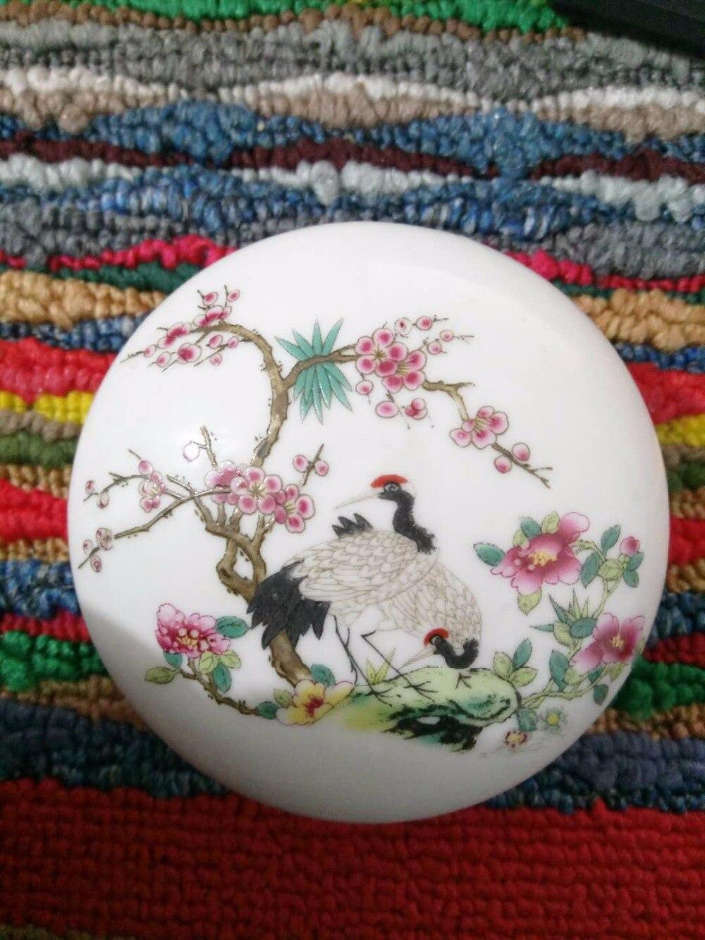 TNUKK Famille rose porcelain crafts antique ornaments inkpad box. Hand painted erotic figure.