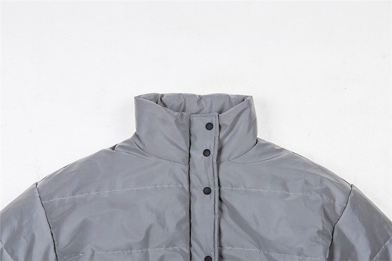 Dulzura flash reflective women padded jacket short tops warm 18 autumn winter solid zipper oversize loose outwear coats casual 22