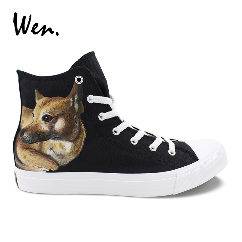 все цены на Wen Customize Hand Painted Shoes Chinese Rural Pet Dog Designer Sneakers Women Men Top Canvas Shoes Lacing Trainers Plimsolls