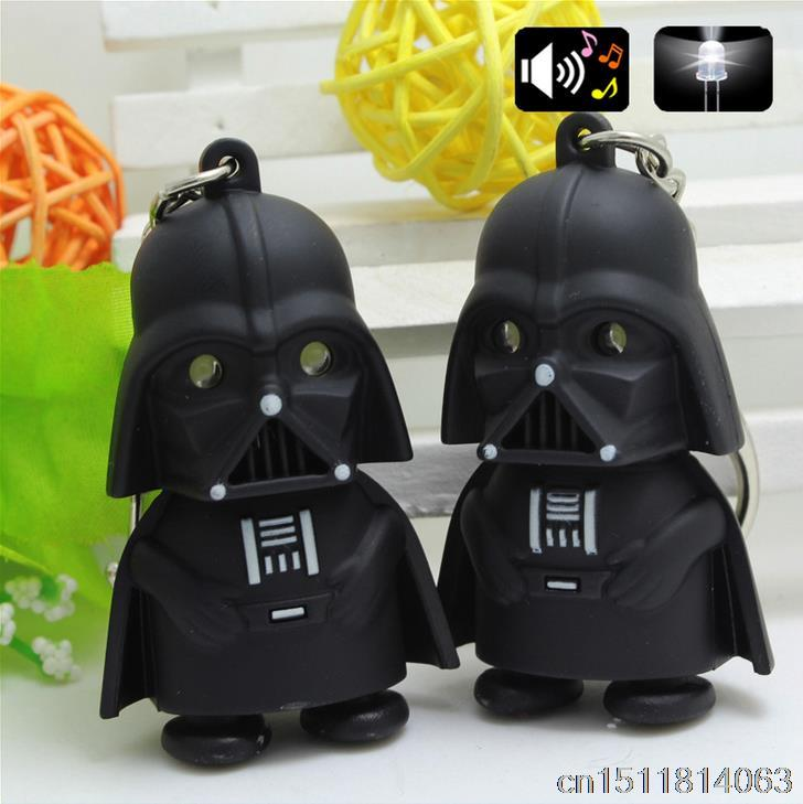 New Hot Free Shipping 5cm Star Wars Force Awakens Darth Vader Pendant Keychain LED Light font