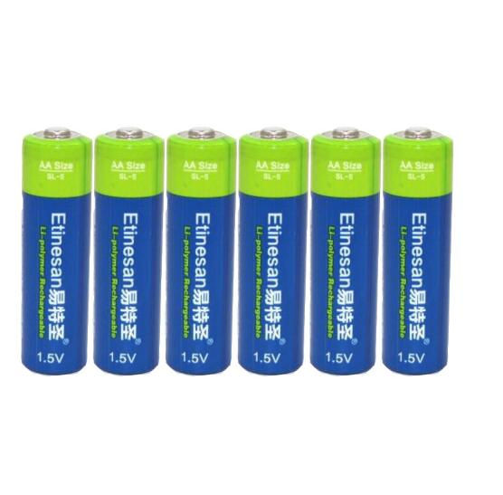 new lifepo4 lithium ion battery 6 pcs Etinesan 3000mwh AA Li-polymer Rechargeable Battery apply Toys flashlights cameras etc lithium battery 3 7v 2 9ah for 10a 3c powerful 18650 cell li ion battery p29pf f 36v monomer 8 7ah polymer battery