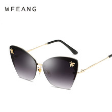 07a454b099b4 WFEANG The gradient piece Cat eye Sunglasses Women Luxury Brand Designer  Metal Original Sun Glasses For Female vintage Oculos