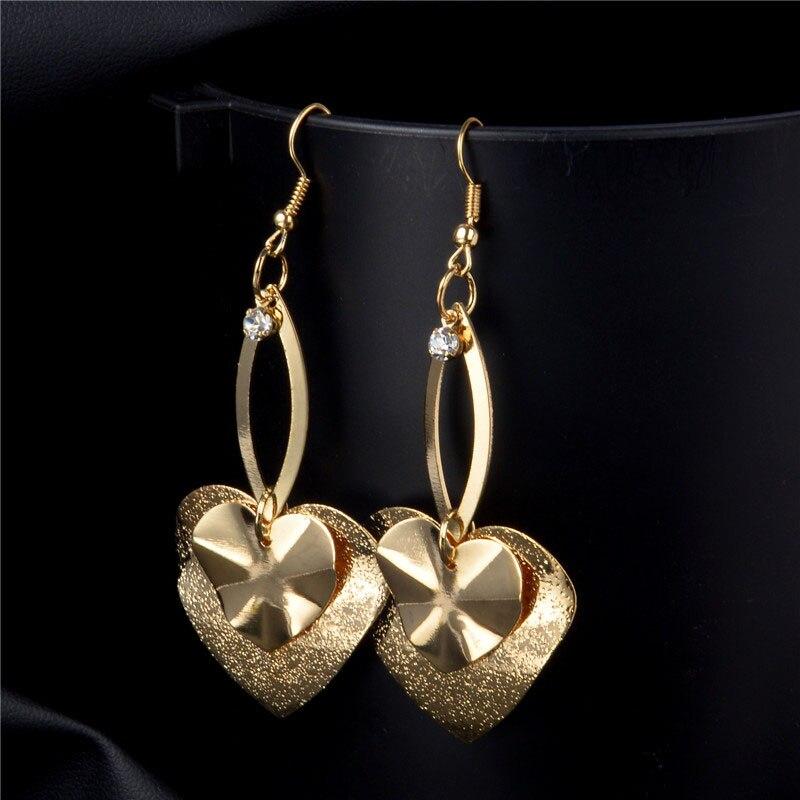 SHUANGR New Gold Color Heart Pendant Long Earrings Dangle Earrings 2 Colors Earrings For Women Accessories brinco