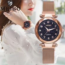 Luxury Rose Gold Women Watch Starry Sky Hot Selling Magnetic Buckle Luminous Clock Wholesale Waterproof reloj mujer