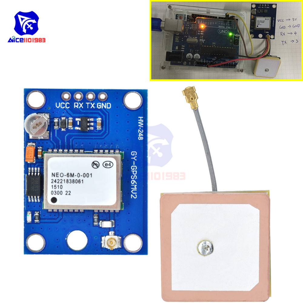 GY-GPS6MV2 NEO-6M GPS Module NEO6MV2 Built-in EEPROM APM2.5 Antenna 3V-5V RS232 TTL Board For Arduino Flight Controller