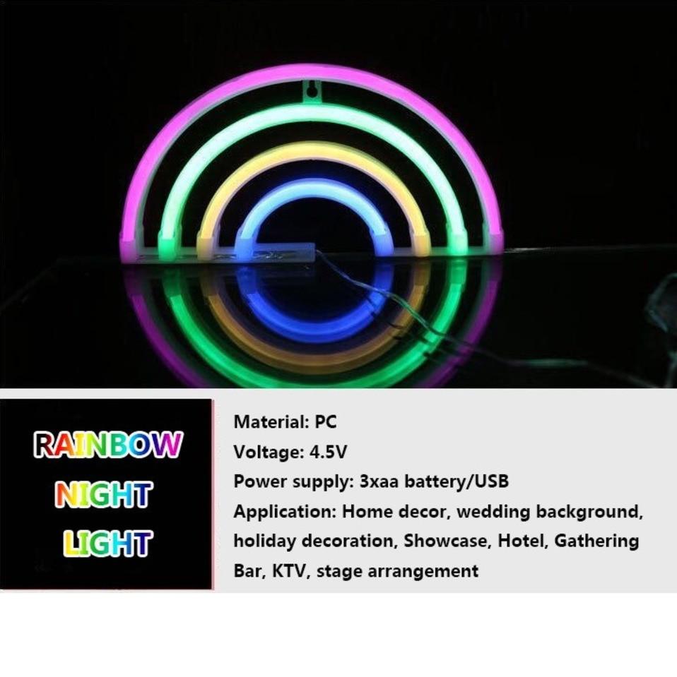 Children bedroom LED Atmosphere table Lamp Rainbow Neon night light for Bar Dormitory Decoration luminaria lampada