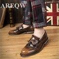 AREQW Кисточкой Мужчины Оксфорды Обувь Для Мужчин Кожаной Обуви Дышащая Мужская Обувь Из Натуральной Кожи Квартиры Старинные Высокое Качество