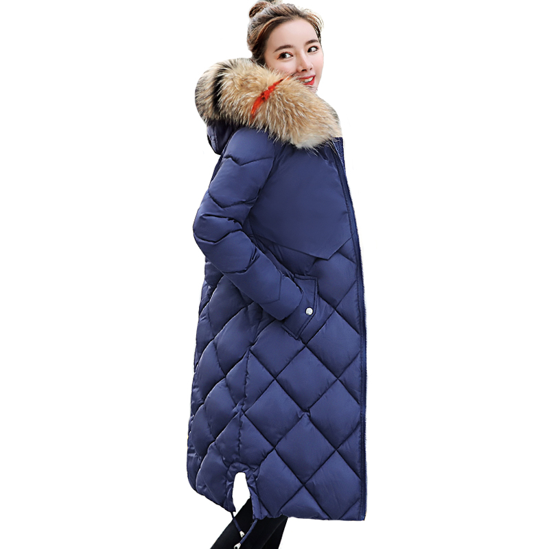With Big Fur Collar Warm Thicken 2019 New Arrival Winter Jacket Women Long Down Cotton   Parka     Parkas   Female Coat Hooded Coats