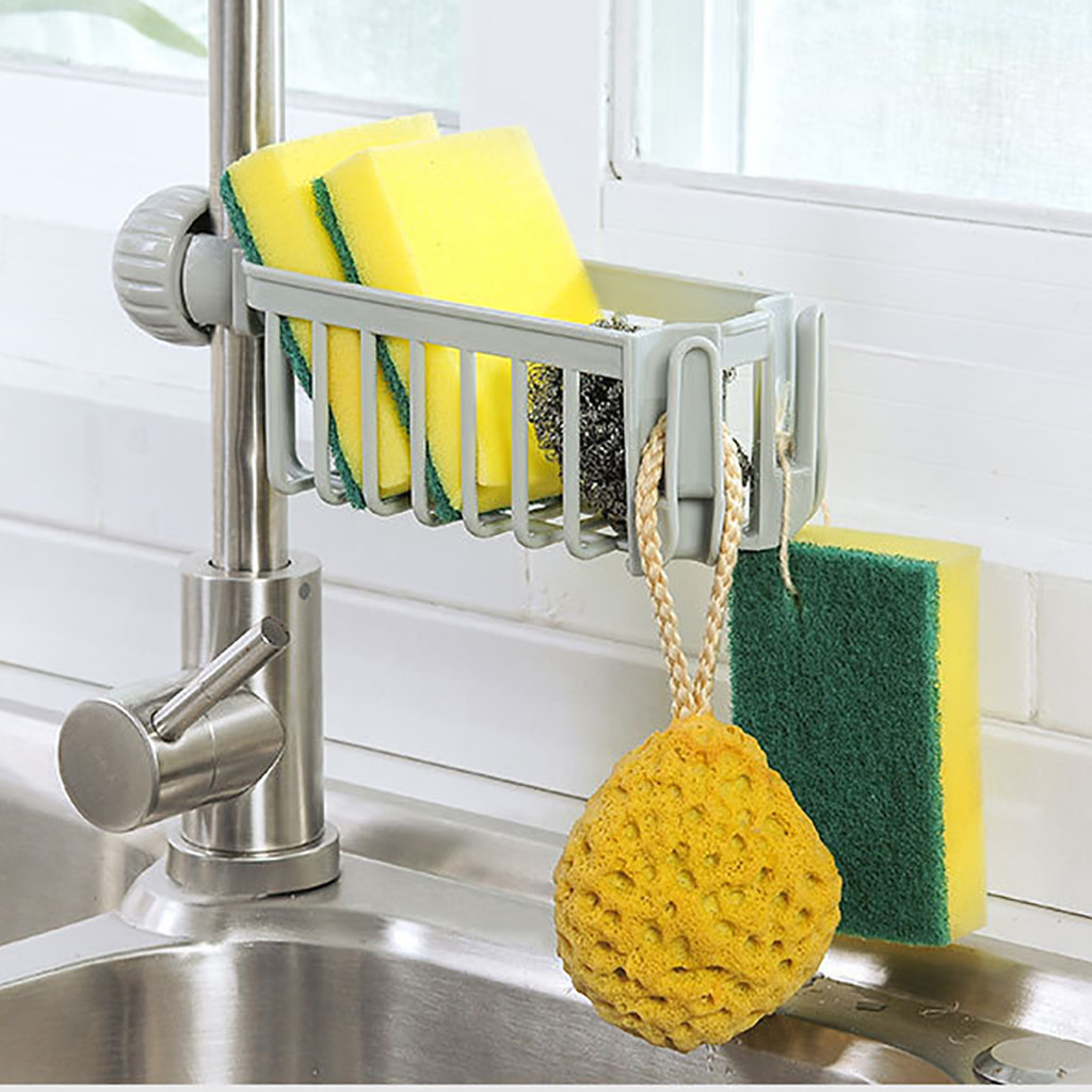 Sink Faucet Shelf Soap Sponge Drain Rack Bathroom Holder Kitchen Storage Suction Cup Kitchen Organizer Holder Accessories #YL1