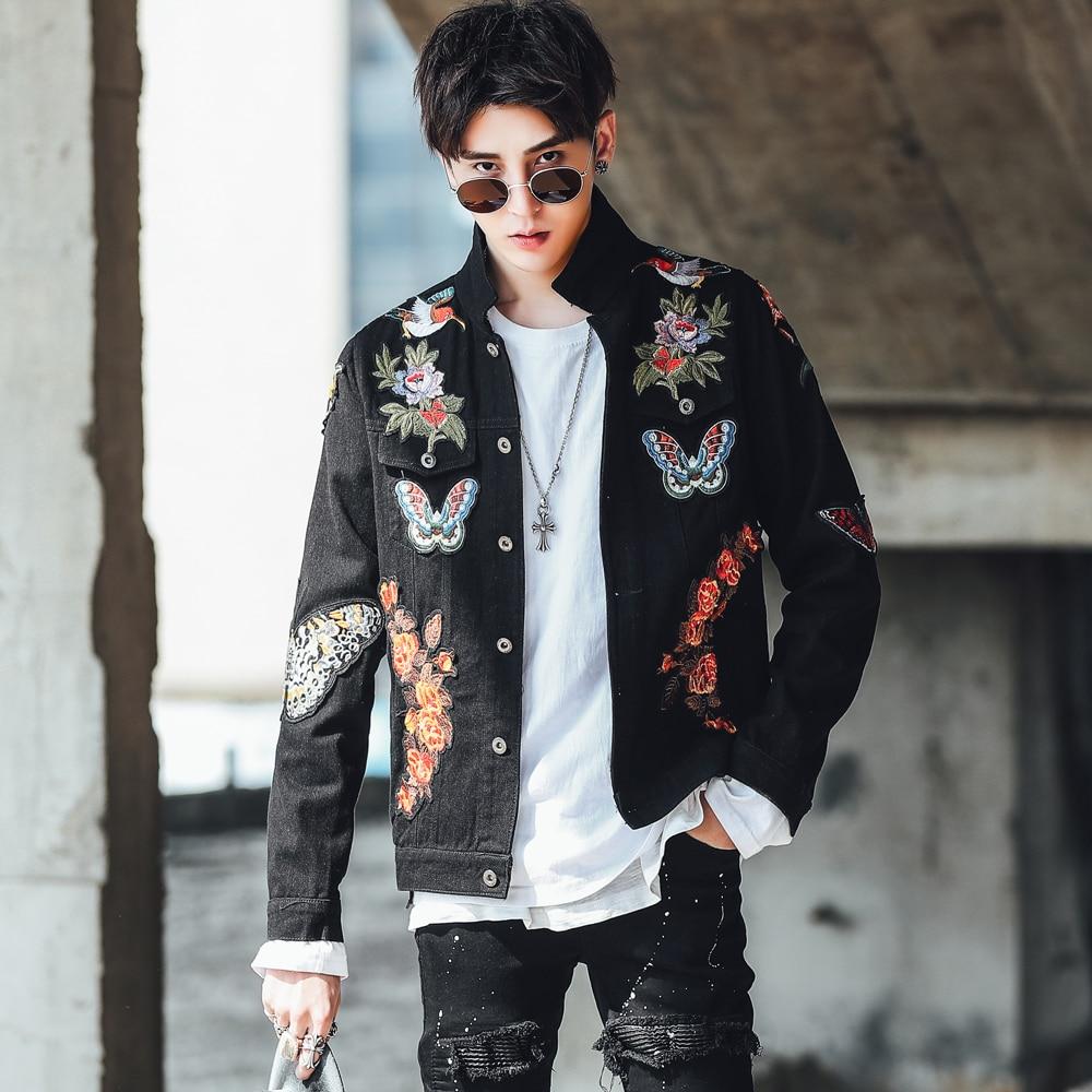 Novel Ideas Men Embroidered Denim Jacket Fashion Male Jeans Jacket