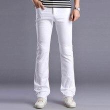 Мужчины Новый Белый Дизайнеров Flare Джинсы Брюки Моды Случайные Мужские Широкую Ногу Клеш Джинсы мужские Натяжные Тонкий Деним брюки