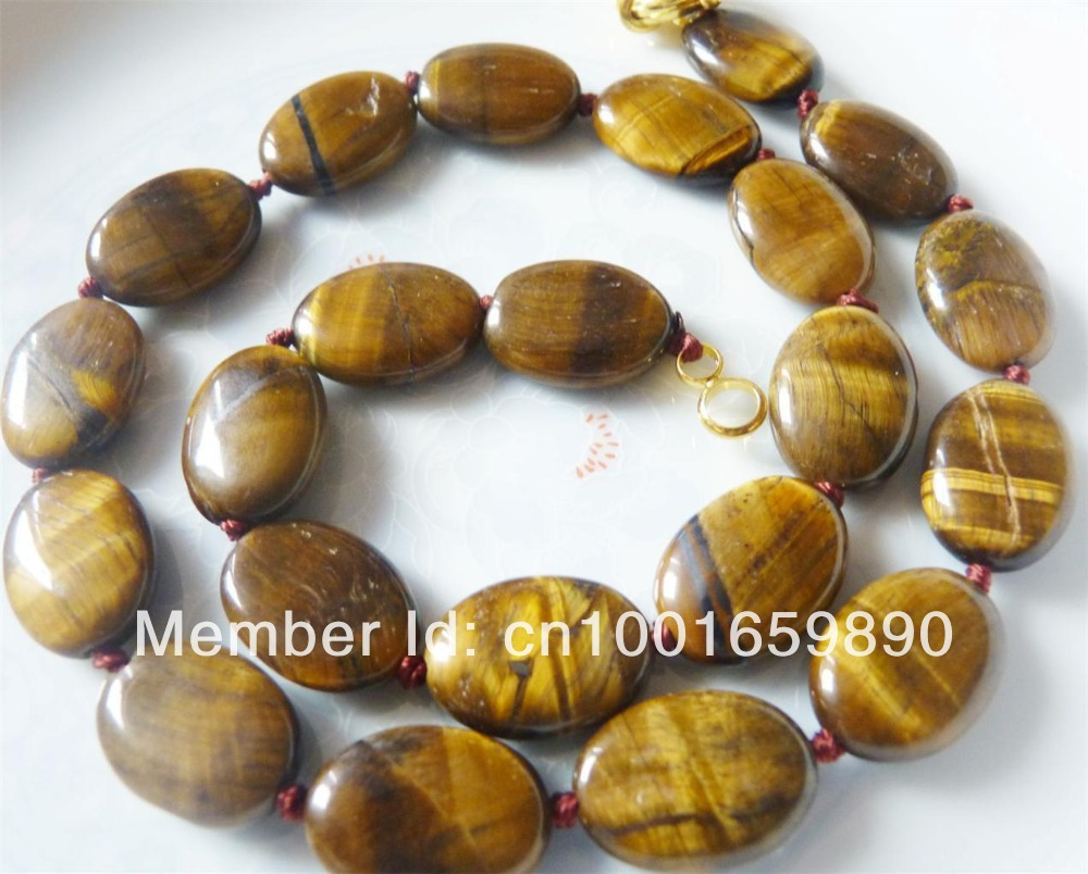 Accessory Crafts Parts 13x18mm Flat Oval Tiger Eye Stones Balls Gifts Chalcedony Chains Neckalce 18Inch Wholesale Fitting Female