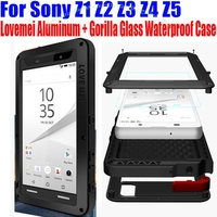 Liefde Mei Originele Aluminium + Glas Screen Shock Drop Waterdicht case voor Sony Xperia Z1 Z2 Z3 Z4 Z5 Premium Compact Z51
