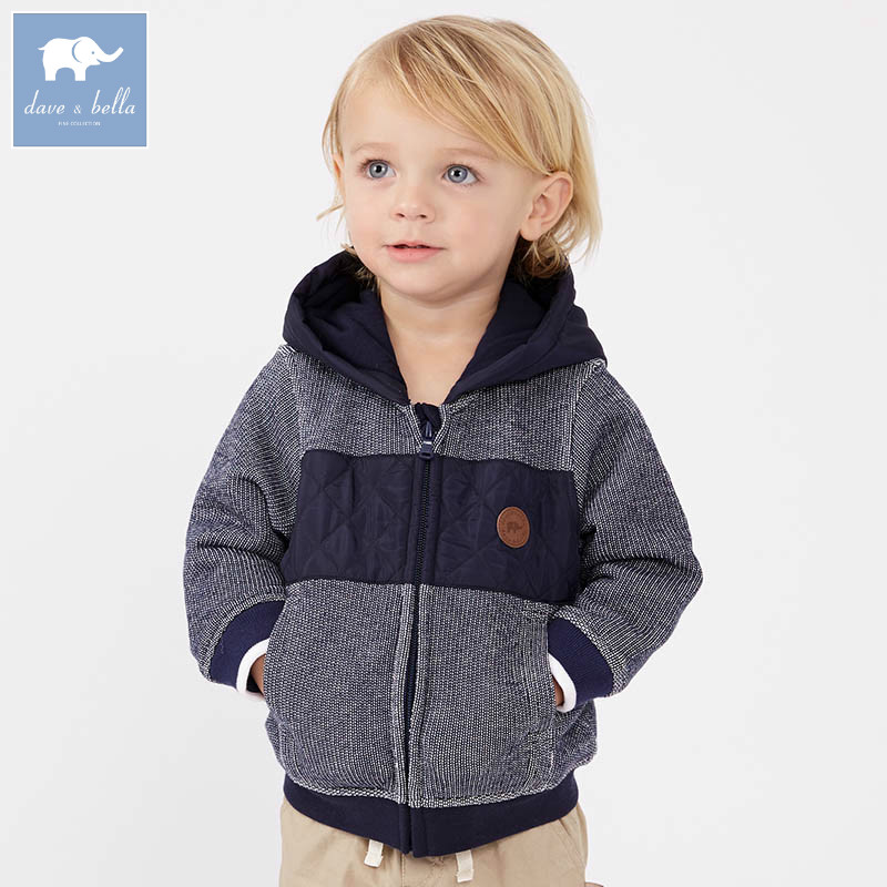 DB7678 dave bella spring infant baby boys fashion hooded coat kids toddler children hight quality clothes
