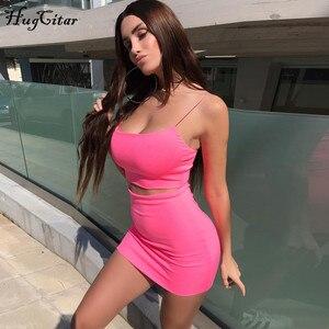 Image 3 - Hugcitar paski spaghetti sexy camis spódnica 2 dwuczęściowy zestaw 2019 lato kobiety moda neon zielony pomarańczowy stałe imprezowy streetwear