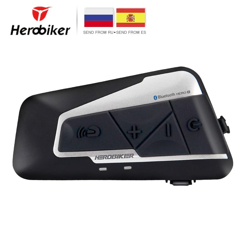 HEROBIKER Motorcycle Helmet Intercom Waterproof Wireless Bluetooth Moto Headset Interphone With FM Radio For 2 Rides 1200M