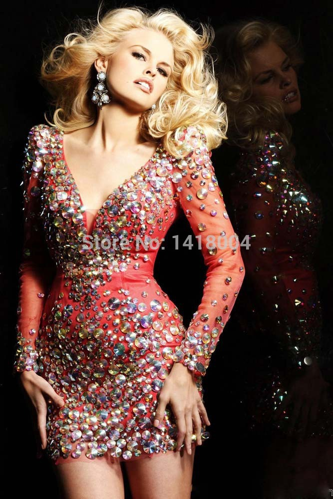 Champagne cocktail dress with rhinestones