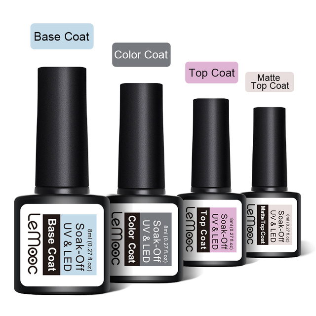 LEMOOC 8ml Top Base Coat Soak Off Nail Gel Foundation For UV LED  Gel Varnish No Wipe Transparent Nail Art varnish 4