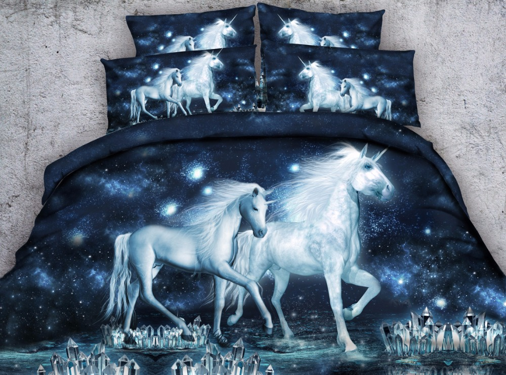 3d unicorn printed bed sheet set 4pcs horse duvet cover queen size animal pattern kids adult bedroom decor bedding gift 3d unicorn printed bed sheet set 4pcs horse duvet cover queen size animal pattern kids adult bedroom decor bedding gift
