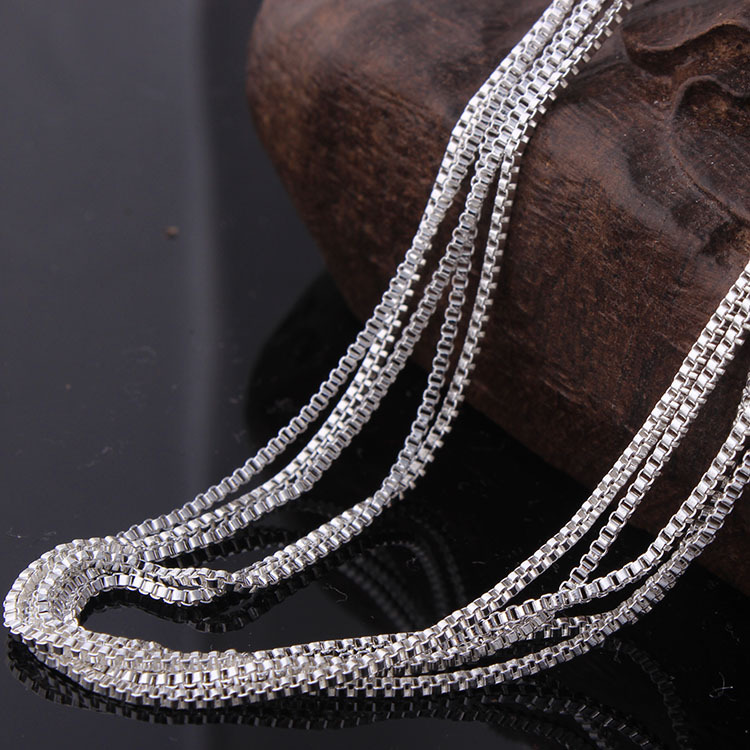 silver plated box chain for pendant wholesale stock length 16 18 20 22 24 26 28 30 inch fashion 12mm width chain necklace