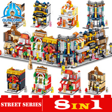 Qunlong 1437Pcs 8in1 New Cool City Streetscape Byggnadsblock DIY Educational Toy För Kids Kompatibla Legoings Minecrafted Gifts
