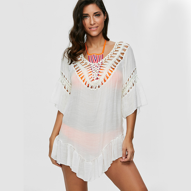 Colored Tassel See-Through Crochet Beach Cover Up