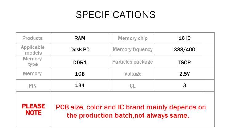 DDR1 333 400 1G.